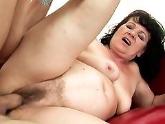 Perverse young dude enjoys fucking stretched bearded cunny of BBW in rear end style