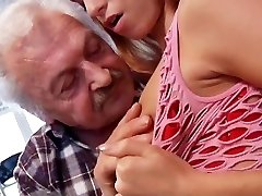 Sex paramour grandpa Gustavo fucking young beaver in porn casting