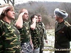 Chick gets soldiers cum