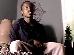 Ebony twink enjoys an amateur blowjob from white xxl man