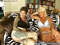 Tattooed lesbian granny plumbed