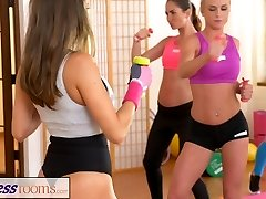 FitnessRooms Lesbian lovers make each other jism after gym