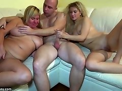 Young woman fucking in 3some with granny