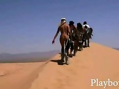 Big rack honeys tries out sand boarding