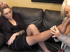 Student sniff and lick teachers nylon soles