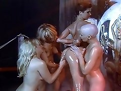 Lesbian lubricant and shaving orgy