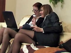Two biz ladies in stockings