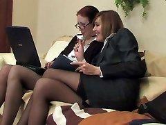 Two biz ladies in stockings