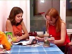 Masha and Ivana coeds peeing on wc