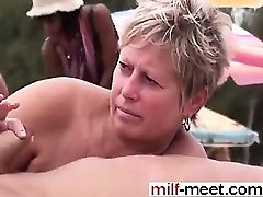 Swingers at the Nudist Beach - Pussy from COUGAR-MEET.COM