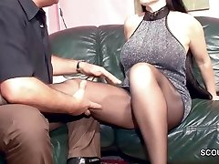 Unshaved German COUGAR in Nylon get Hard Fuck and Cum On