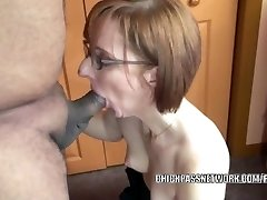 Horny housewife Layla Redd is blowing a dude she just faced