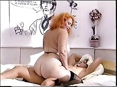 Big ass red-haired mature fucks a youthfull cock
