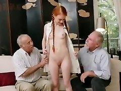 old men with young redhair stunner