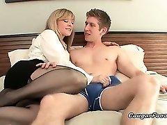 Amazing blonde MILF slut with xxl tits and sexy body looks