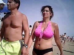 Big baps in bikini mature at beach