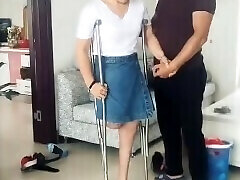 Fantastic RAK Amputee Wife tries High High-heeled Shoes