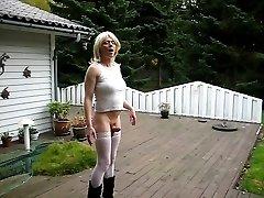 Jeannet Fuentes rigid ladyboy cock in the garden