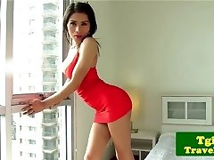 Ladyboy jerking sausage and flashing ass off