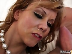 Facialized ts mature juggles on cock