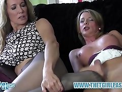 Blonde t-girl wanks big fuck-stick before cuming on hot nylon ass