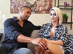 Gorgeous white transgender princess takes big dick
