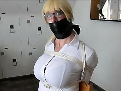 WSBP - Busty Chick getting trussed up and gagged!