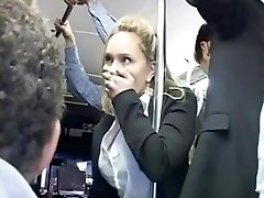 Horny platinum-blonde groped to multiple orgasm on bus & fucked