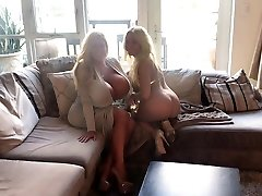 Hot cougar with gigantic fake tits & her friend