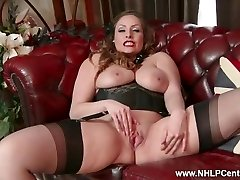 Natural hefty tits brown-haired Sophia Delane strips to nylons heels and wanks
