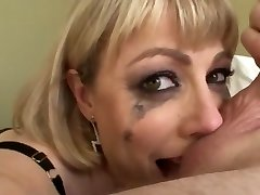 Huge-boobed blonde an sloppy mouth face fuck swallow
