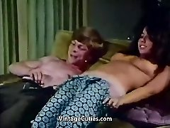 Youthful Couple Penetrates at House Party (1970s Vintage)