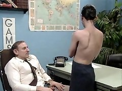 Senior chief at desk job getting a blow job