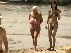 Retro ample knockers mix on Russian beach