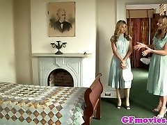 Vintage girl-on-girl fingering stockinged dyke