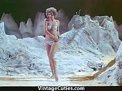 Damsel Astronaut Stripteases on the Moon (1960s Vintage)