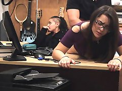 Shop Lifting Brunette In Glasses Takes Facial In Pawn Shop