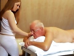 Oldman fucks young masseuse cums in her mouth