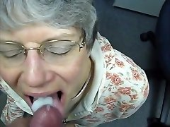 grandma swallows cum like a good whore