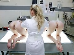 Mischievous nurse is fucking slutty anal holes of Audrey Holiday and her crimson haired girlfriend