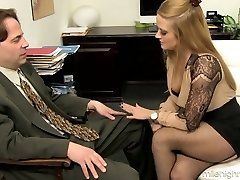 Office super-bitch Holly Heart takes off boulder-holder and micro-skirt and seduces one kinky man