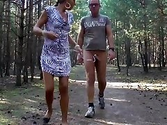 E-Stim outdoor ,Public showcasing in wood, fapping off