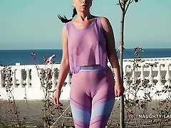 My new semi-transparent workout garb... Check my camel toe out