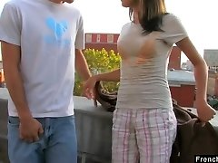Ardent sex addict Dolly P gets her cock-squeezing pussy boned on the roof
