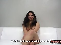 Hot first-timer casting with cumshot