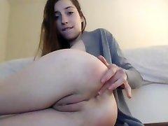 Nubile slut plays with her asshole