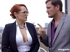 Jaw dropping French milf Emy Russo tempts new secretary and licks her juicy slit