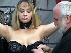 Roped BDSM whore gets nipples pinned and ass probed by old man