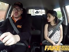 Fake Driving School Rough back seat fuck for small infatuated learner