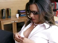 Monstrous tittied secretary gives blowjob to horny college principle